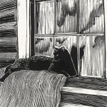 cat wood engraving