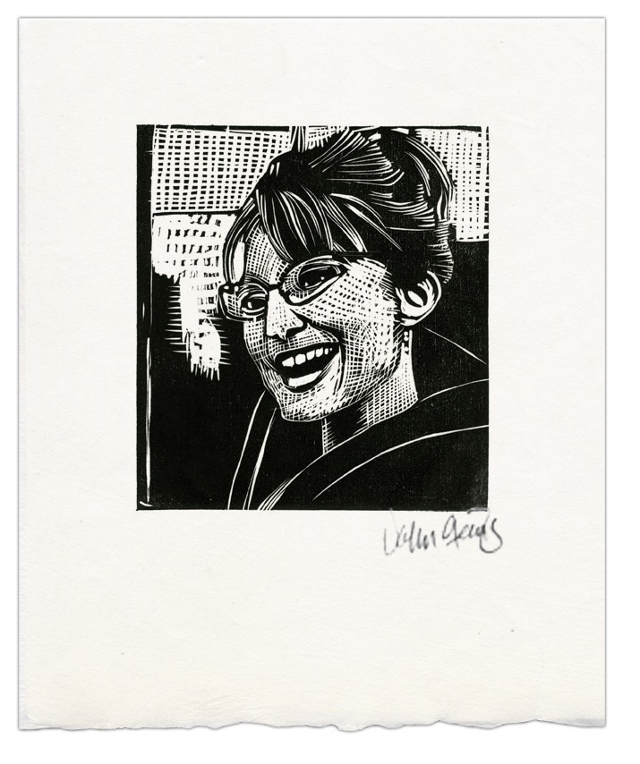 Small woodcut of Sarah Palin