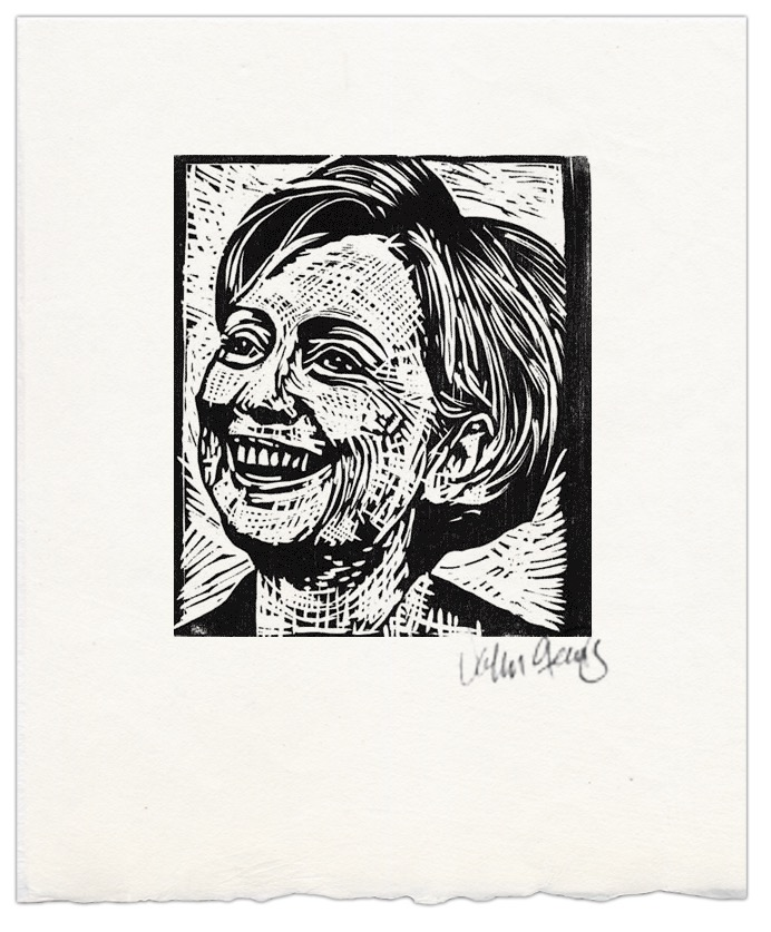 A woodcut of Hillary Clinton I did in black and white a few years ago.