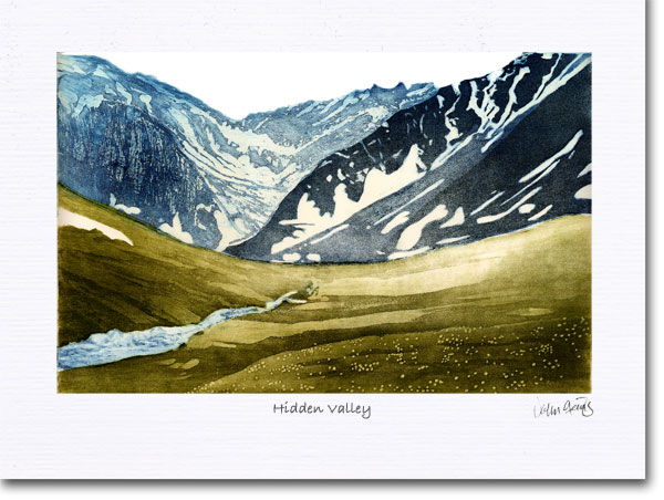 An aquatint etching I did years ago showing the the Tombstone Valley in the Yukon.