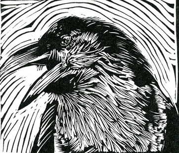 Raven Under a Black Moon ~ Lino-cut ~ John Steins