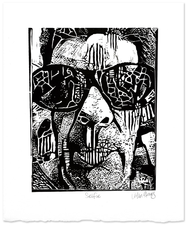 Woodcut print by John Steins called Selfie