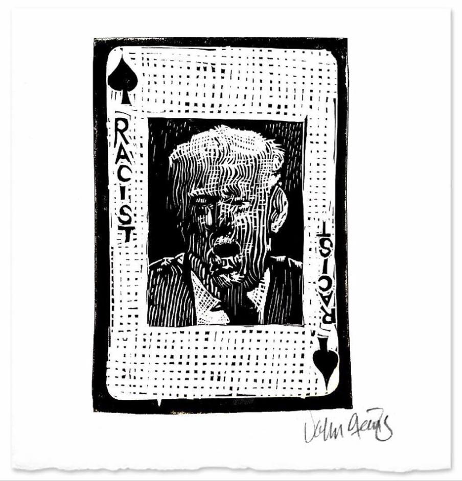 Donald Trump linocut