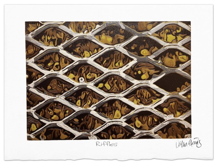 reduction woodcut depicting riffles in a sluice box that captures gold nuggets ©️John Steins